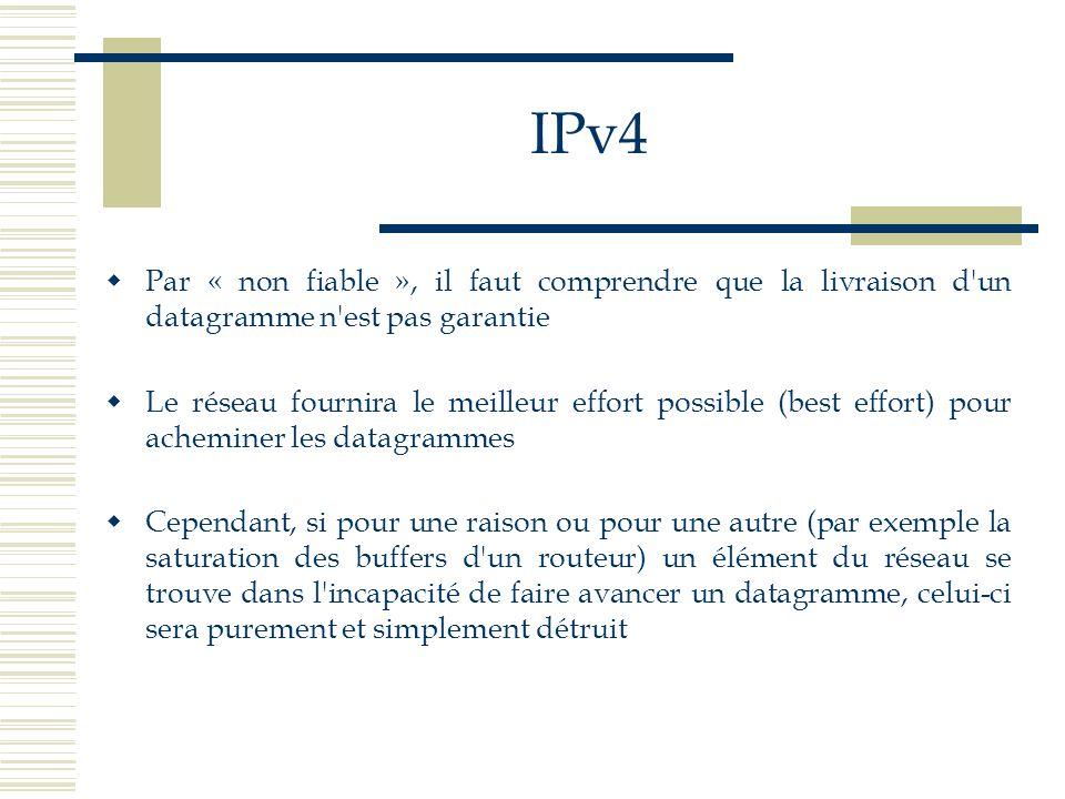 IPv4 Par « non fiable », il faut comprendre que la livraison d'un datagramme n'est pas garantie Le réseau fournira le meilleur effort possible (best e