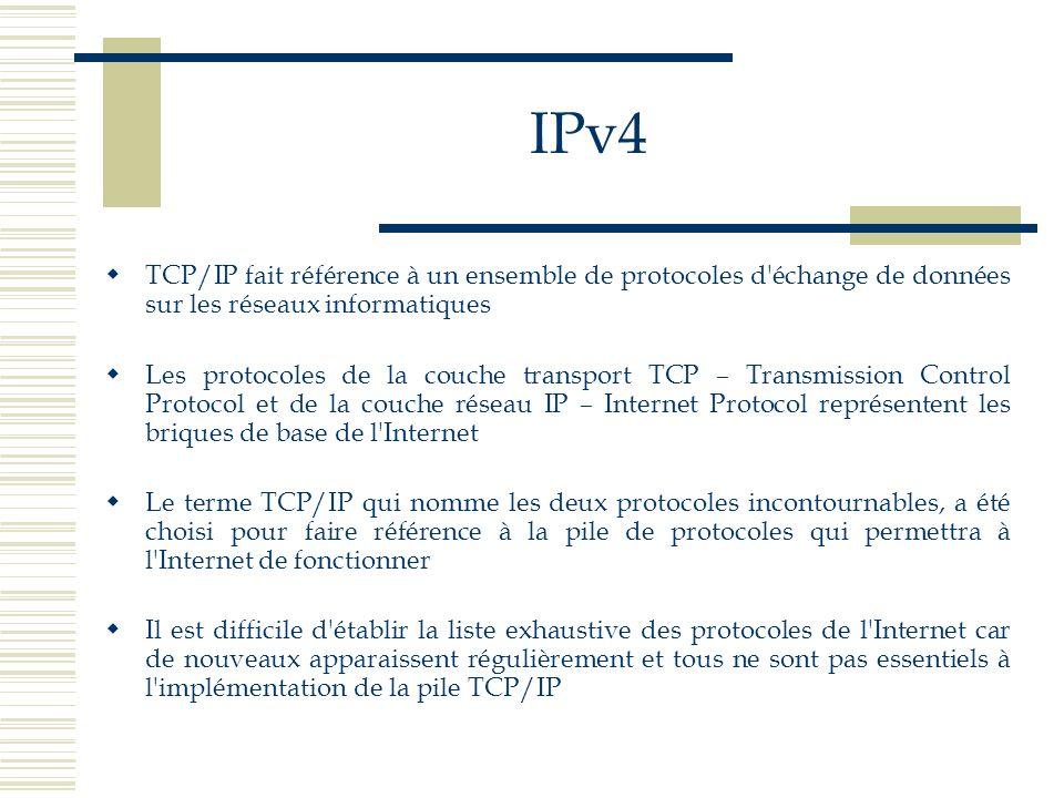 IPv4 Le protocole IP correspond à un protocole de la couche réseau Il permet l interconnexion de réseaux physiques hétérogènes et le point d entrée d applications « utilisateur »