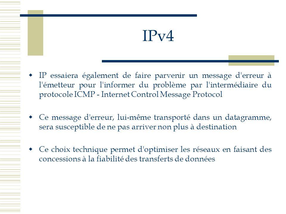 IPv4 IP essaiera également de faire parvenir un message d'erreur à l'émetteur pour l'informer du problème par l'intermédiaire du protocole ICMP - Inte
