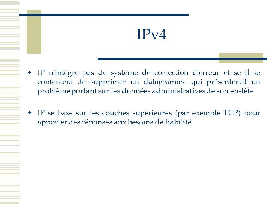 IPv4 IP n'intègre pas de système de correction d'erreur et se il se contentera de supprimer un datagramme qui présenterait un problème portant sur les