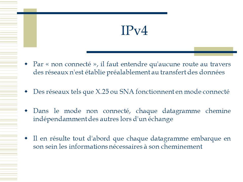 IPv4 Par « non connecté », il faut entendre qu'aucune route au travers des réseaux n'est établie préalablement au transfert des données Des réseaux te