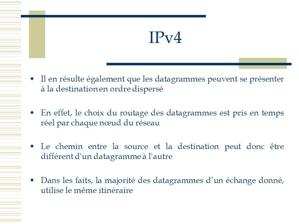 IPv4 Il en résulte également que les datagrammes peuvent se présenter à la destination en ordre dispersé En effet, le choix du routage des datagrammes
