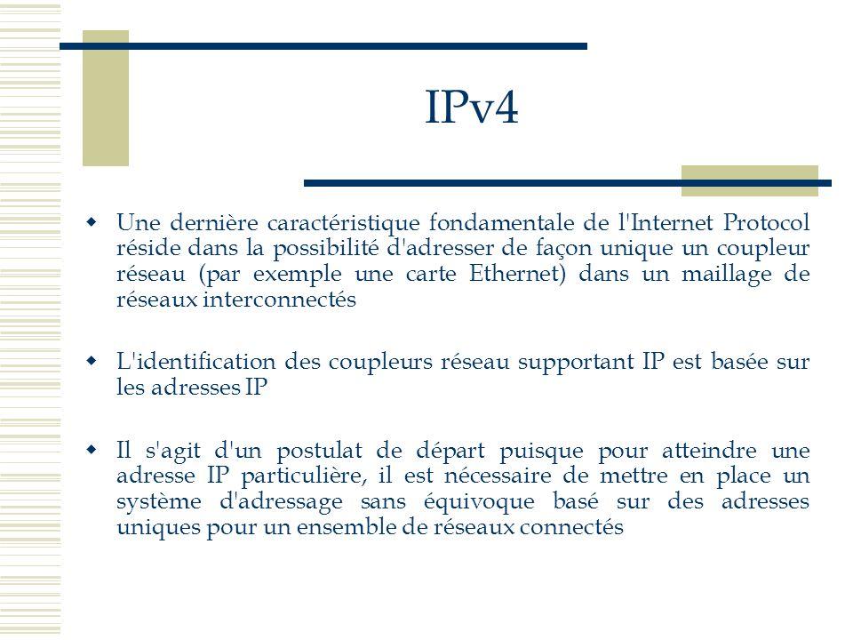 IPv4 Une dernière caractéristique fondamentale de l'Internet Protocol réside dans la possibilité d'adresser de façon unique un coupleur réseau (par ex