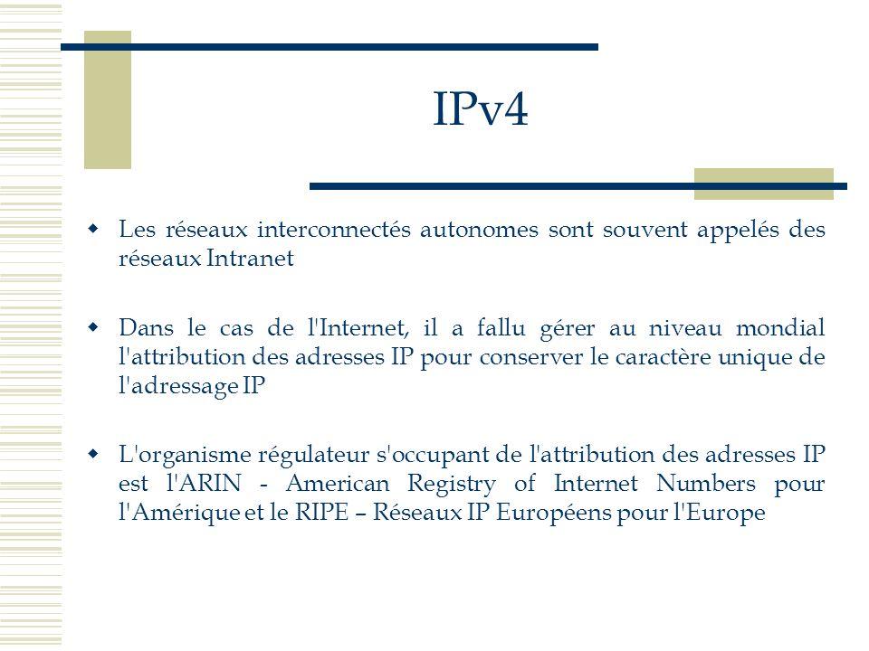 IPv4 Les réseaux interconnectés autonomes sont souvent appelés des réseaux Intranet Dans le cas de l'Internet, il a fallu gérer au niveau mondial l'at