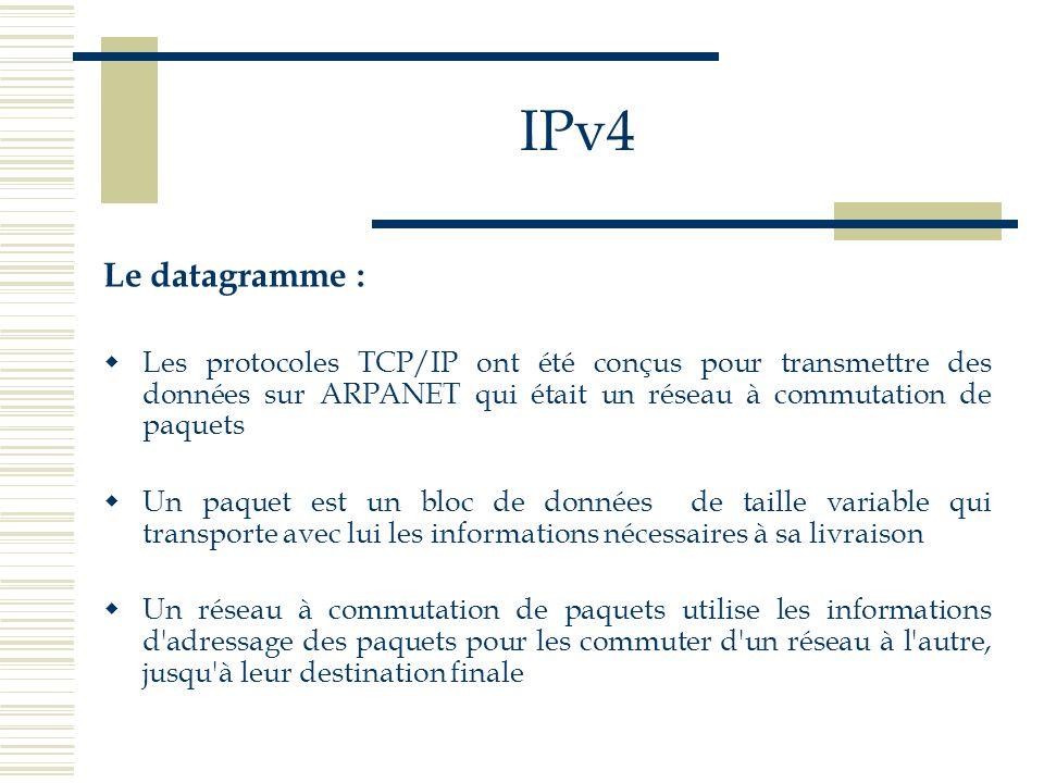 IPv4 Le datagramme : Les protocoles TCP/IP ont été conçus pour transmettre des données sur ARPANET qui était un réseau à commutation de paquets Un paq