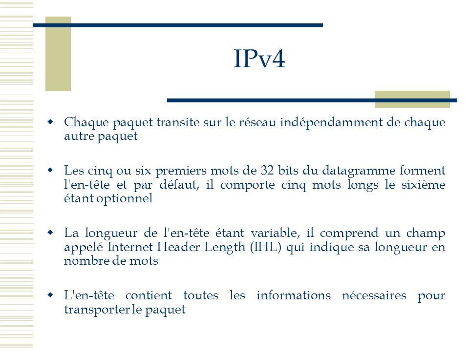 IPv4 Chaque paquet transite sur le réseau indépendamment de chaque autre paquet Les cinq ou six premiers mots de 32 bits du datagramme forment l'en-tê
