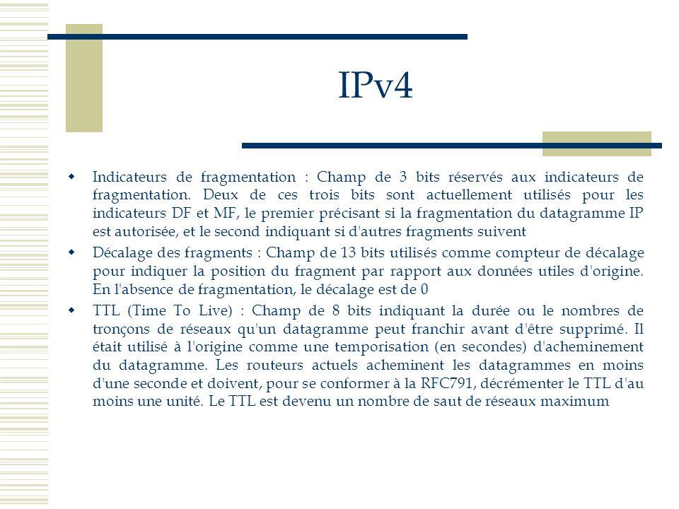 IPv4 Indicateurs de fragmentation : Champ de 3 bits réservés aux indicateurs de fragmentation. Deux de ces trois bits sont actuellement utilisés pour