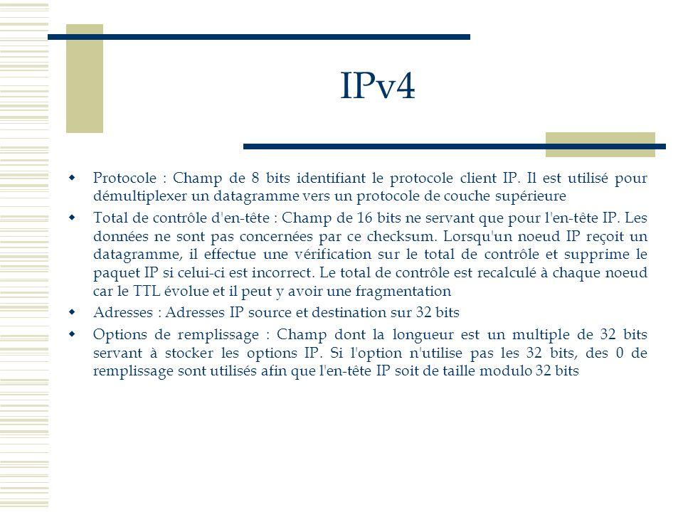 IPv4 Protocole : Champ de 8 bits identifiant le protocole client IP. Il est utilisé pour démultiplexer un datagramme vers un protocole de couche supér