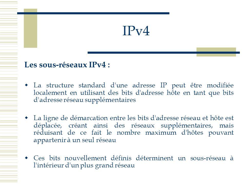 IPv4 Les sous-réseaux IPv4 : La structure standard d'une adresse IP peut être modifiée localement en utilisant des bits d'adresse hôte en tant que bit