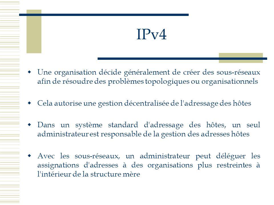 IPv4 Une organisation décide généralement de créer des sous-réseaux afin de résoudre des problèmes topologiques ou organisationnels Cela autorise une