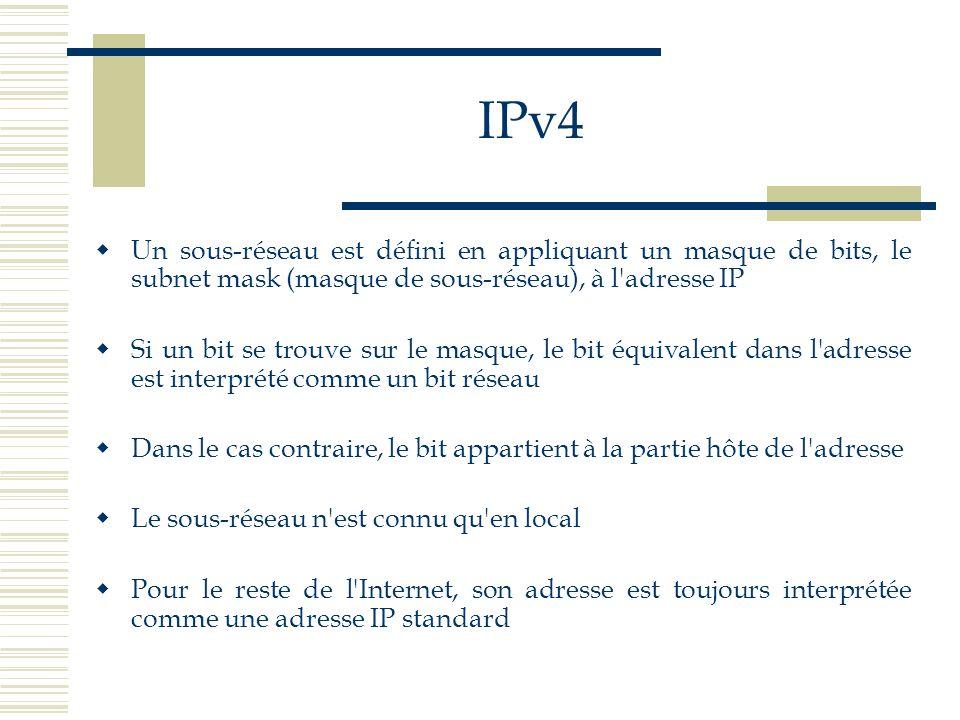 IPv4 Un sous-réseau est défini en appliquant un masque de bits, le subnet mask (masque de sous-réseau), à l'adresse IP Si un bit se trouve sur le masq