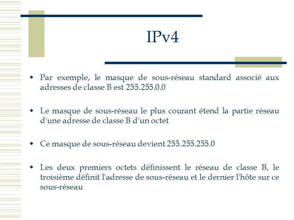 IPv4 Par exemple, le masque de sous-réseau standard associé aux adresses de classe B est 255.255.0.0 Le masque de sous-réseau le plus courant étend la