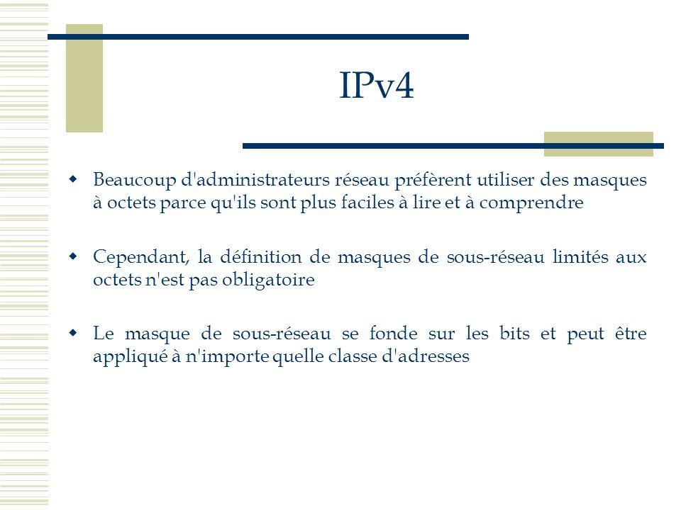 IPv4 Beaucoup d'administrateurs réseau préfèrent utiliser des masques à octets parce qu'ils sont plus faciles à lire et à comprendre Cependant, la déf