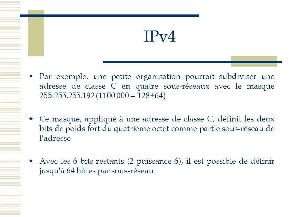 IPv4 Par exemple, une petite organisation pourrait subdiviser une adresse de classe C en quatre sous-réseaux avec le masque 255.255.255.192 (1100 000