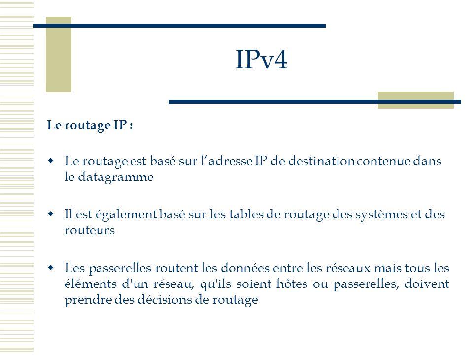 IPv4 Le routage IP : Le routage est basé sur ladresse IP de destination contenue dans le datagramme Il est également basé sur les tables de routage de
