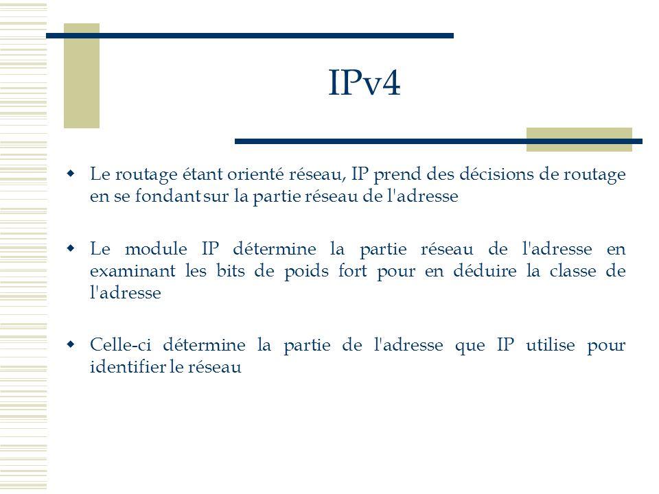 IPv4 Le routage étant orienté réseau, IP prend des décisions de routage en se fondant sur la partie réseau de l'adresse Le module IP détermine la part