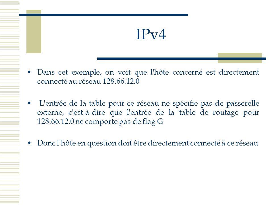 IPv4 Dans cet exemple, on voit que l'hôte concerné est directement connecté au réseau 128.66.12.0 L'entrée de la table pour ce réseau ne spécifie pas