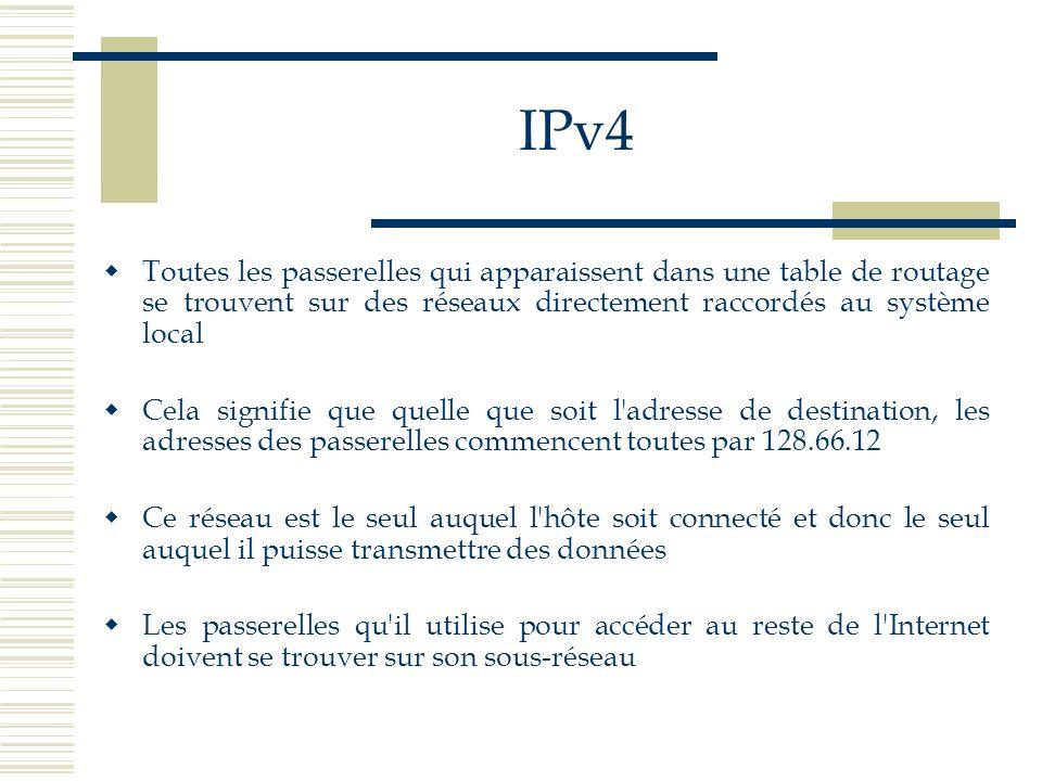IPv4 Toutes les passerelles qui apparaissent dans une table de routage se trouvent sur des réseaux directement raccordés au système local Cela signifi