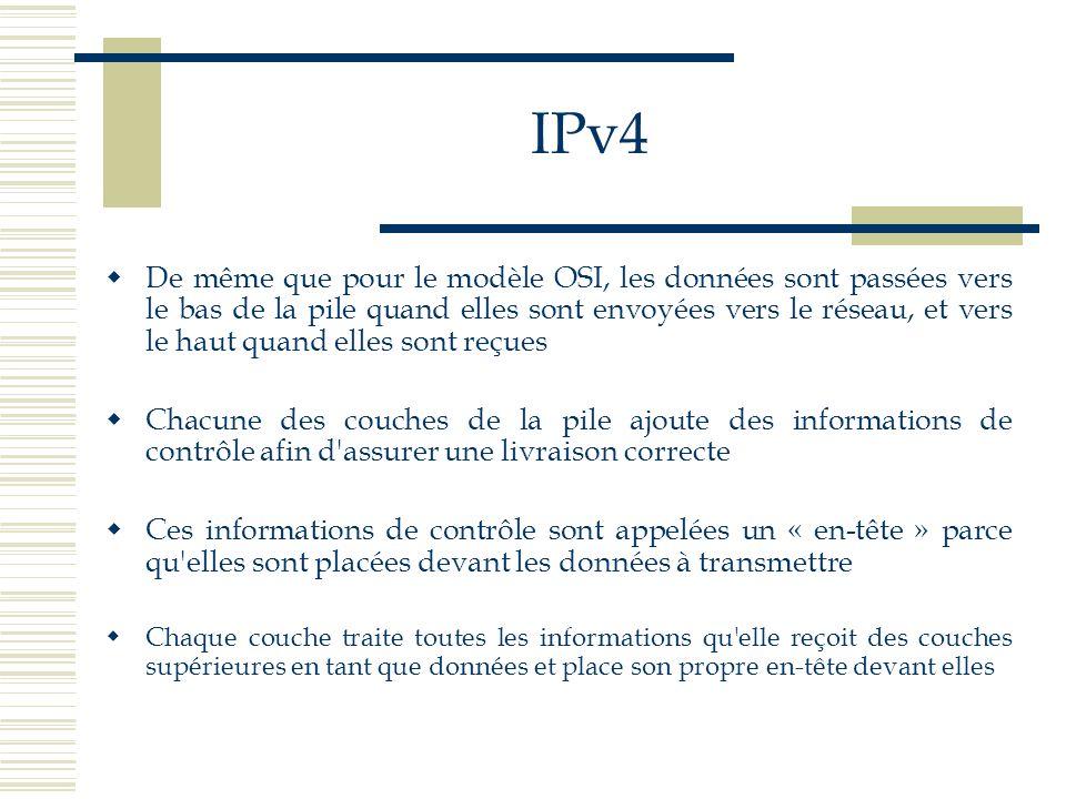 IPv4 L addition d informations de distribution à chaque couche est appelée encapsulation Quand les données sont reçues, c est l inverse qui se produit Chaque couche enlève son en-tête avant de passer les données à celles du dessus Les informations reçues d une couche inférieure sont interprétées en tant qu en-tête et données
