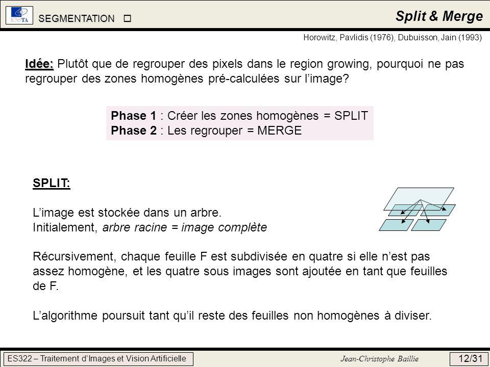 SEGMENTATION SEGMENTATION ES322 – Traitement dImages et Vision Artificielle Jean-Christophe Baillie 12/31 Split & Merge Horowitz, Pavlidis (1976), Dub