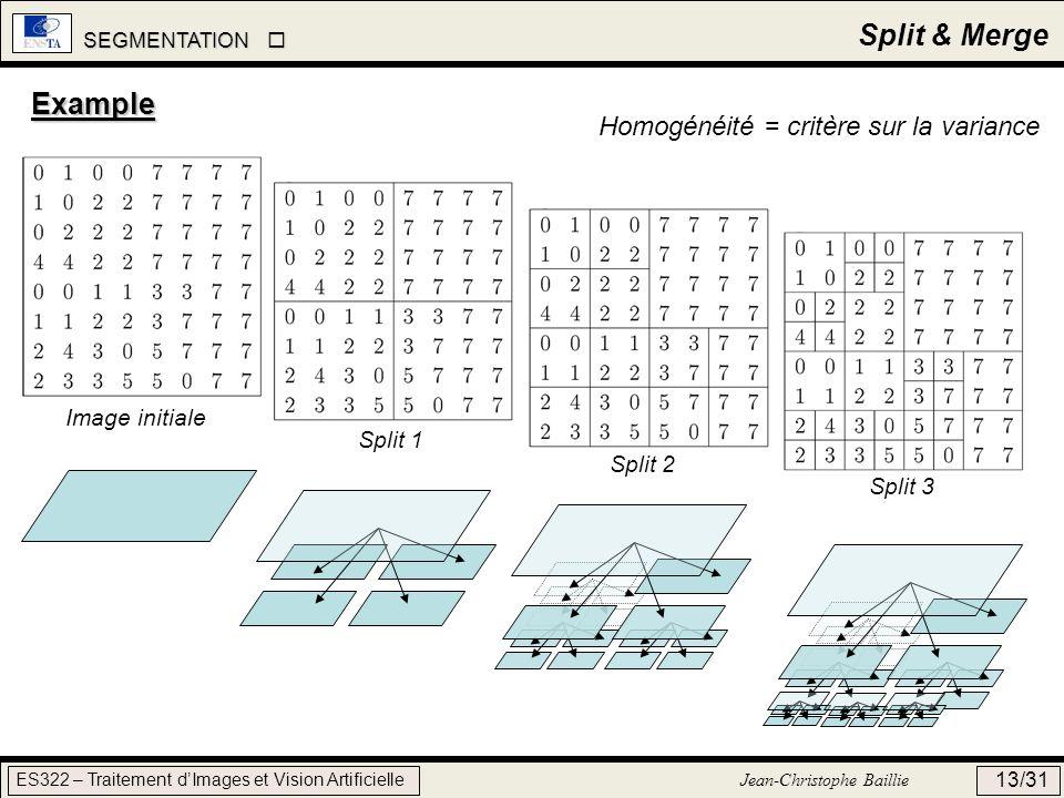 SEGMENTATION SEGMENTATION ES322 – Traitement dImages et Vision Artificielle Jean-Christophe Baillie 13/31 Split & Merge Example Image initiale Split 1