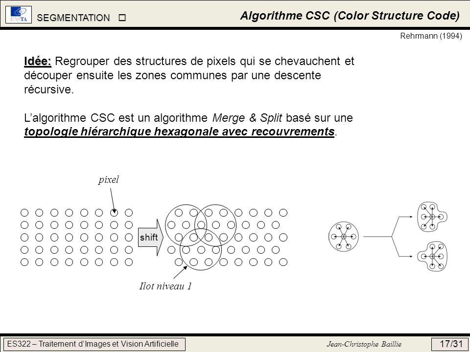 SEGMENTATION SEGMENTATION ES322 – Traitement dImages et Vision Artificielle Jean-Christophe Baillie 17/31 Algorithme CSC (Color Structure Code) Rehrma