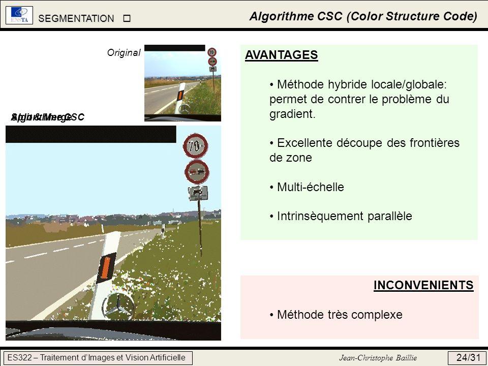 SEGMENTATION SEGMENTATION ES322 – Traitement dImages et Vision Artificielle Jean-Christophe Baillie 24/31 Algorithme CSC (Color Structure Code) AVANTA