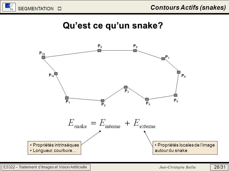 SEGMENTATION SEGMENTATION ES322 – Traitement dImages et Vision Artificielle Jean-Christophe Baillie 26/31 Contours Actifs (snakes) Quest ce quun snake