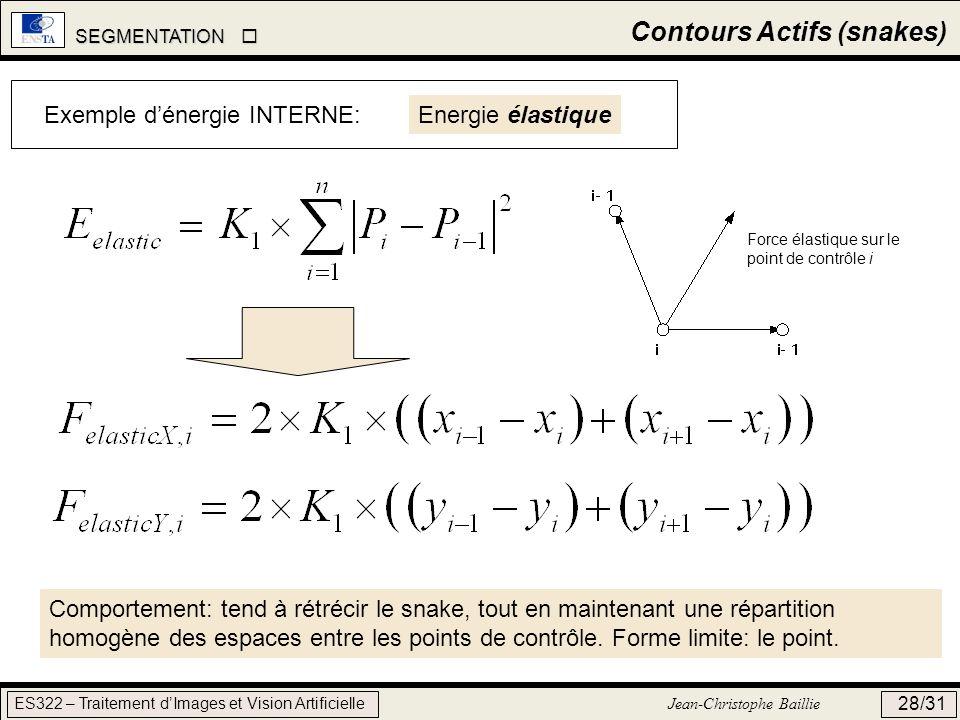SEGMENTATION SEGMENTATION ES322 – Traitement dImages et Vision Artificielle Jean-Christophe Baillie 28/31 Contours Actifs (snakes) Exemple dénergie IN