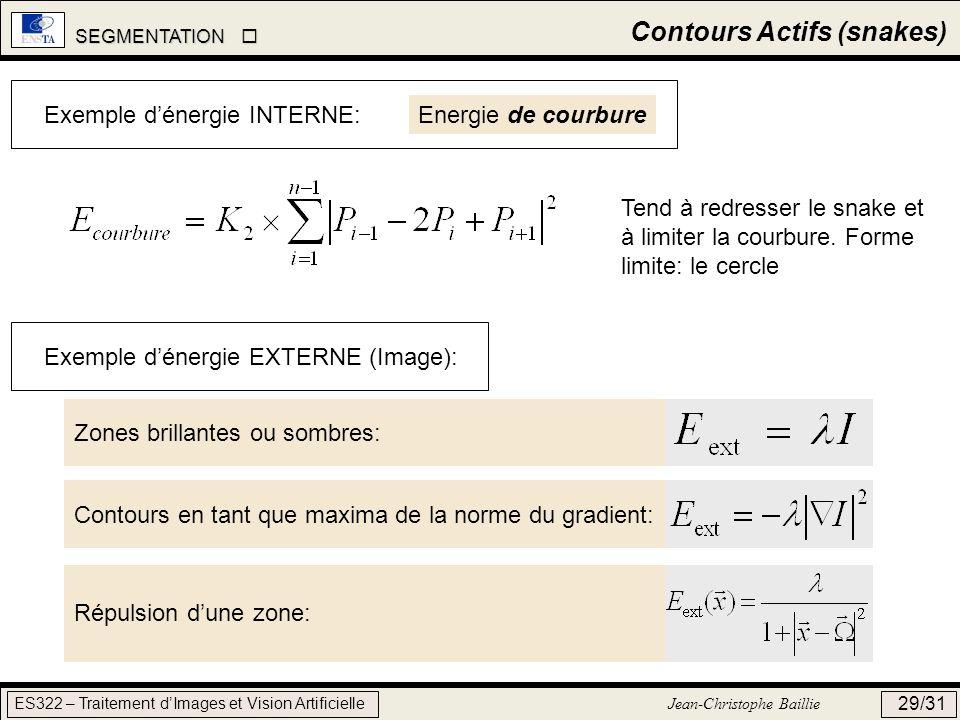 SEGMENTATION SEGMENTATION ES322 – Traitement dImages et Vision Artificielle Jean-Christophe Baillie 29/31 Contours Actifs (snakes) Exemple dénergie EX