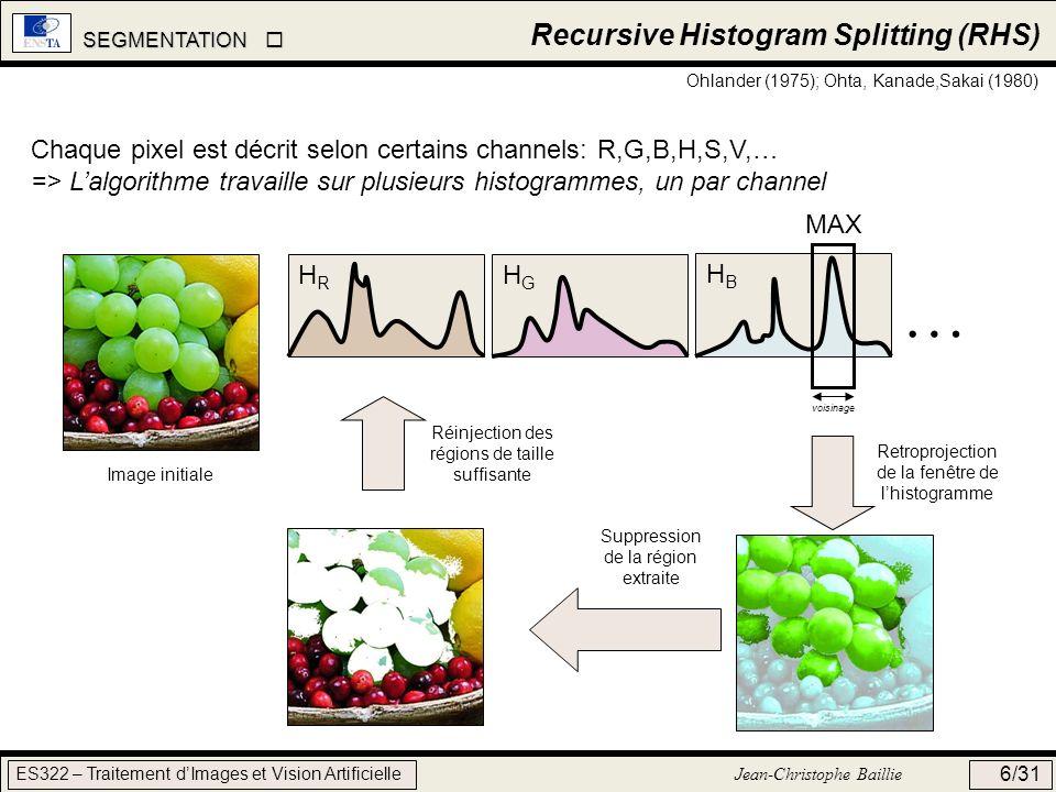 SEGMENTATION SEGMENTATION ES322 – Traitement dImages et Vision Artificielle Jean-Christophe Baillie 6/31 Recursive Histogram Splitting (RHS) Ohlander