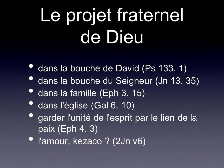 Le projet fraternel de Dieu dans la bouche de David (Ps 133. 1) dans la bouche du Seigneur (Jn 13. 35) dans la famille (Eph 3. 15) dans l'église (Gal