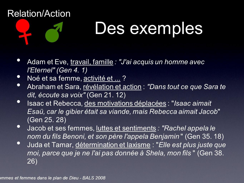 Des exemples Adam et Eve, travail, famille : J ai acquis un homme avec l Eternel (Gen 4.
