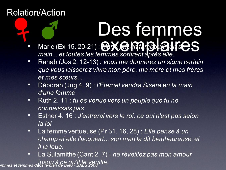 Des femmes exemplaires Marie (Ex 15. 20-21) : Marie prit un tambourin en sa main...