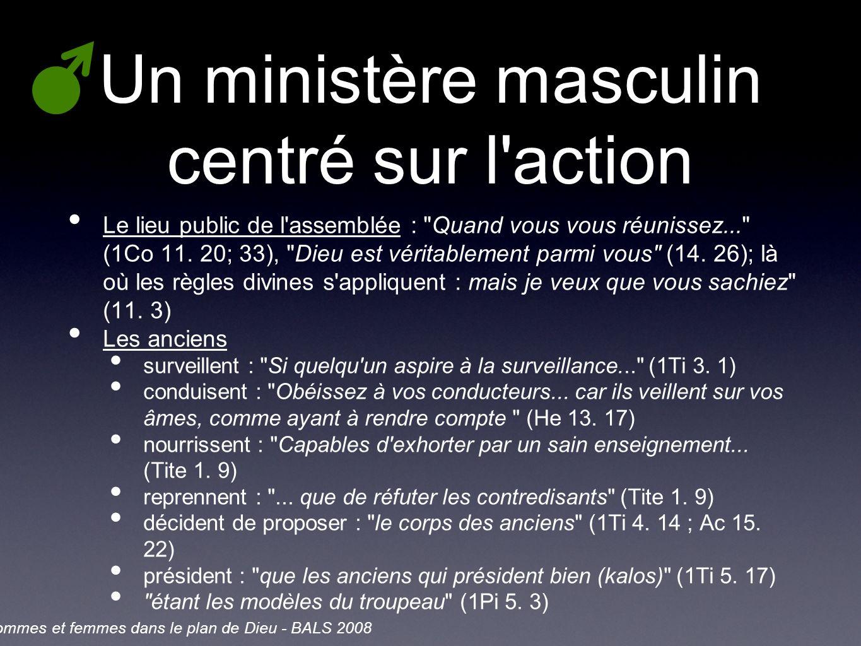 Un ministère masculin centré sur l action Le lieu public de l assemblée : Quand vous vous réunissez... (1Co 11.