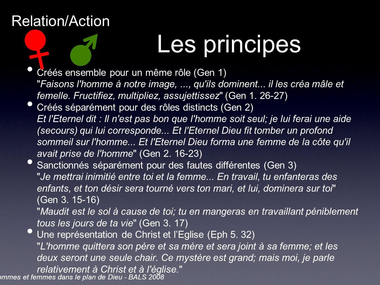 Les principes Créés ensemble pour un même rôle (Gen 1) Faisons l homme à notre image,..., qu ils dominent...