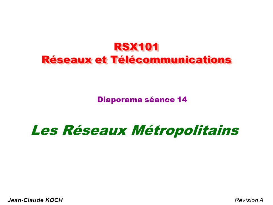 RSX101 - Réseaux & Télécommunication - JCK 22 Gestion des trames Transferts isochrones : Gérée par tête de bus par protocole spécifique (Q 931) Établissement dun lien virtuel (VC) – Mode connecté avec attribution dun VCI (Idem ATM) Émission toutes les 125 µs dune cellule de 48 octets de charge Transferts anisochrones (asynchrones) : Mode non connecté (identifiant VCI = 1---1) ou connecté Accès déterministe par gestion de files dattentes multi-niveaux (Chaque station ayant émis n cellules doit céder la main à une autre en attente) Algorithme géré de façon distribuée par chaque station grâce à des compteurs