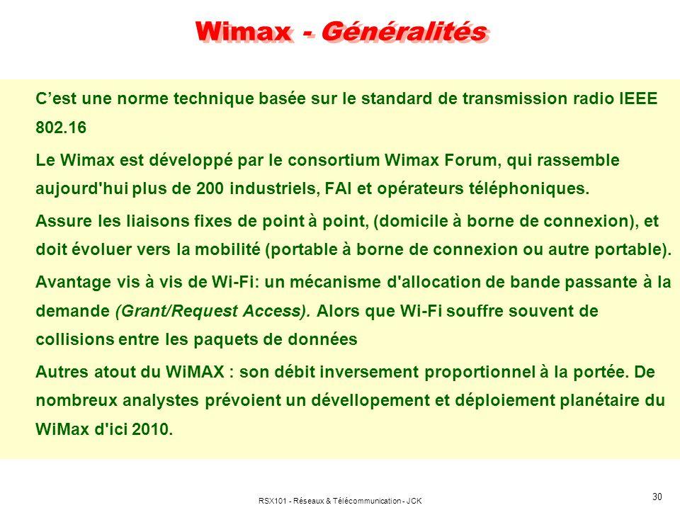 RSX101 - Réseaux & Télécommunication - JCK 30 Wimax - Généralités Cest une norme technique basée sur le standard de transmission radio IEEE 802.16 Le