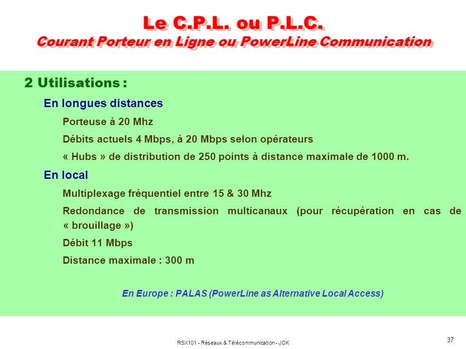 RSX101 - Réseaux & Télécommunication - JCK 37 Le C.P.L. ou P.L.C. Courant Porteur en Ligne ou PowerLine Communication 2 Utilisations : En longues dist