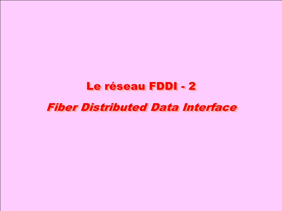 Le réseau FDDI - 2 Fiber Distributed Data Interface