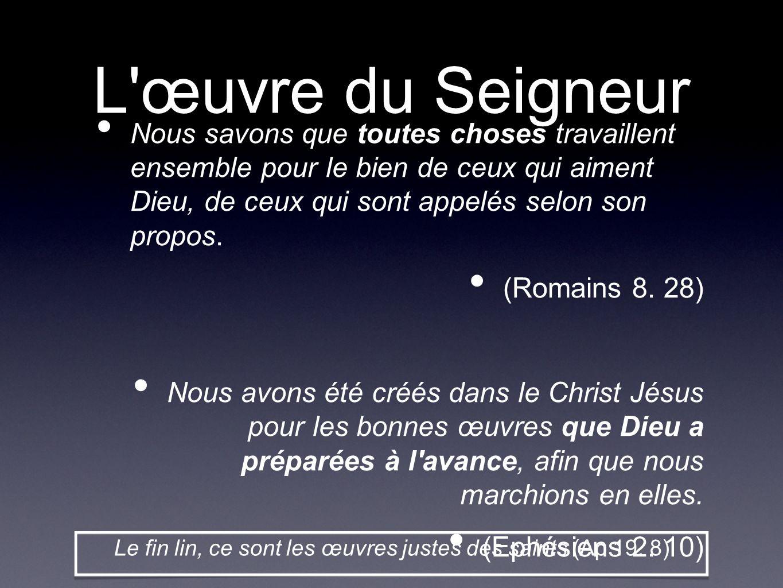 L'œuvre du Seigneur Nous savons que toutes choses travaillent ensemble pour le bien de ceux qui aiment Dieu, de ceux qui sont appelés selon son propos