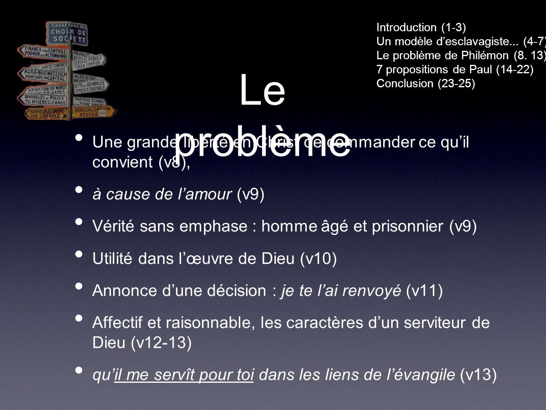 Le problème Une grande liberté en Christ de commander ce quil convient (v8), à cause de lamour (v9) Vérité sans emphase : homme âgé et prisonnier (v9) Utilité dans lœuvre de Dieu (v10) Annonce dune décision : je te lai renvoyé (v11) Affectif et raisonnable, les caractères dun serviteur de Dieu (v12-13) quil me servît pour toi dans les liens de lévangile (v13) Introduction (1-3) Un modèle desclavagiste...