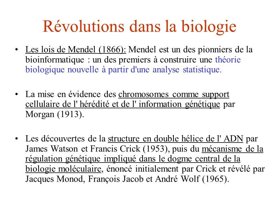 Révolutions dans la biologie Les lois de Mendel (1866): Mendel est un des pionniers de la bioinformatique : un des premiers à construire une théorie b