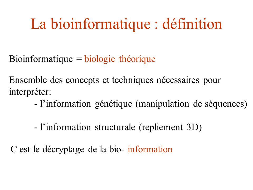La bioinformatique : définition Bioinformatique = biologie théorique Ensemble des concepts et techniques nécessaires pour interpréter: - linformation