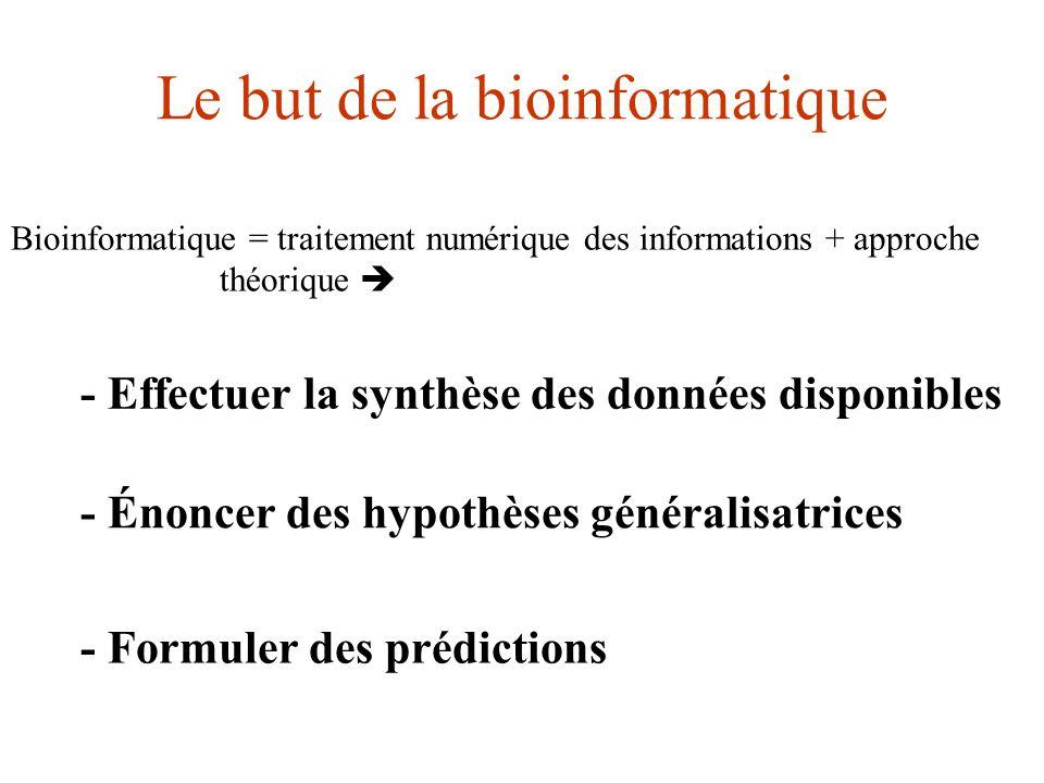 - Effectuer la synthèse des données disponibles - Énoncer des hypothèses généralisatrices - Formuler des prédictions Le but de la bioinformatique Bioi