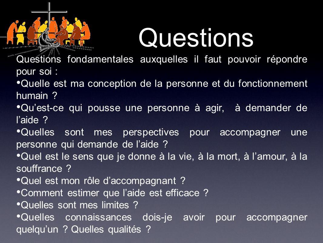 Questions Questions fondamentales auxquelles il faut pouvoir répondre pour soi : Quelle est ma conception de la personne et du fonctionnement humain .