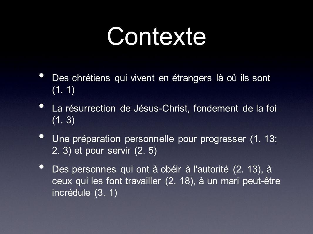 Contexte Des chrétiens qui vivent en étrangers là où ils sont (1. 1) La résurrection de Jésus-Christ, fondement de la foi (1. 3) Une préparation perso