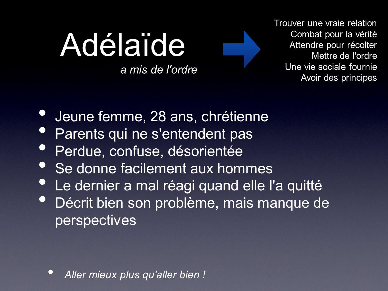 Aller mieux plus qu'aller bien ! Adélaïde Jeune femme, 28 ans, chrétienne Parents qui ne s'entendent pas Perdue, confuse, désorientée Se donne facilem