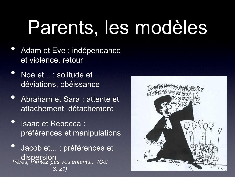Parents, les modèles Adam et Eve : indépendance et violence, retour Noé et...