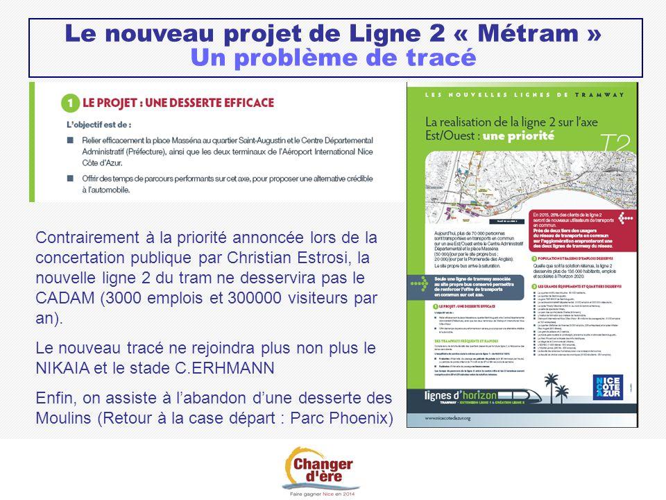 Le nouveau projet de Ligne 2 « Métram » Un problème de tracé Contrairement à la priorité annoncée lors de la concertation publique par Christian Estrosi, la nouvelle ligne 2 du tram ne desservira pas le CADAM (3000 emplois et 300000 visiteurs par an).